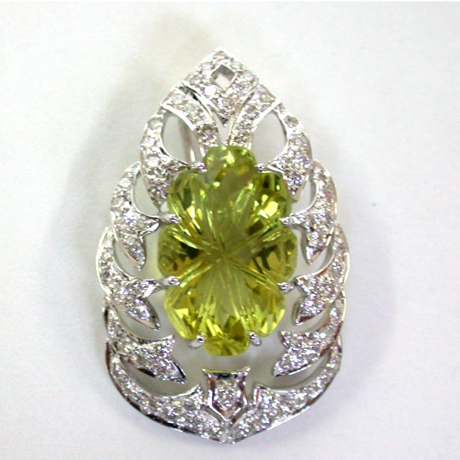Megical Lemon Topaz Diamond Pendants -White Rhodium Pendants