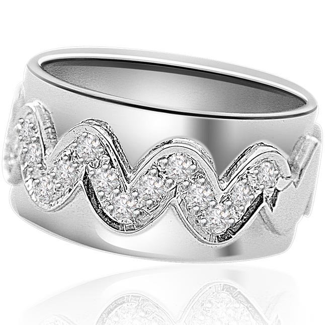 Diamond Snak B 0.32ct Real Diamond rings -White Rhodium rings