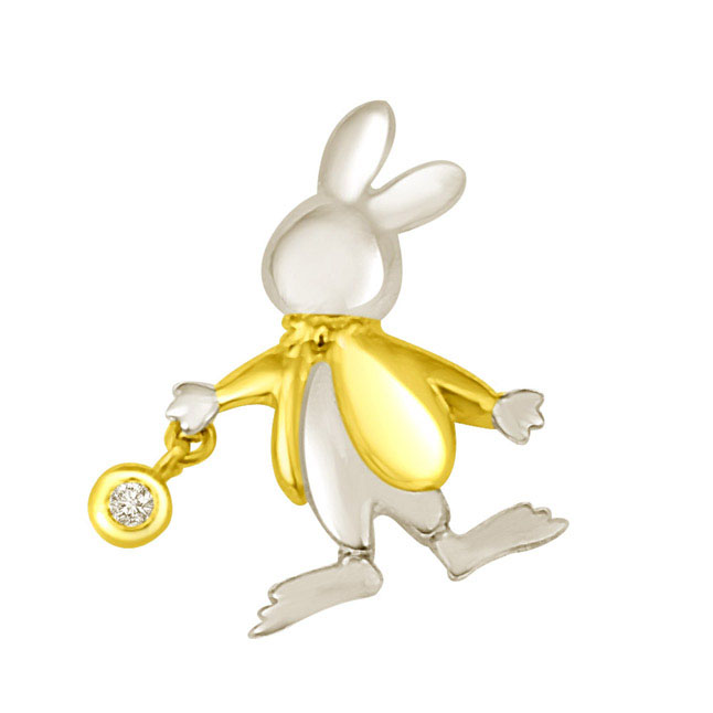 Bunny with a Gold Coat Diamond Pendants in 18k -Teenage