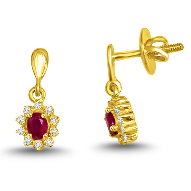 Butterfly Sticks Diamond & Ruby Earrings