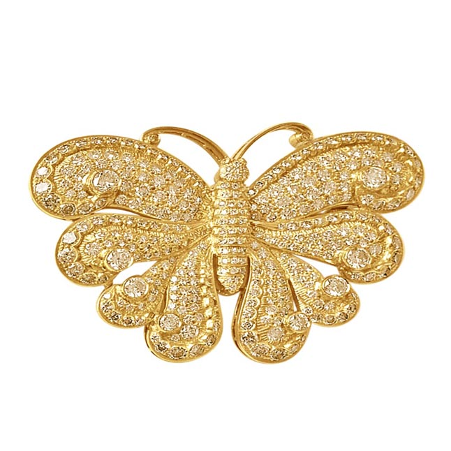 IGL CERT 13.95ct Fancy colour Natural Diamond Butterfly Brooch