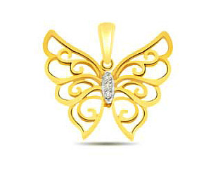 Butterly of Love -0.05 cts Diamond Butterfly Pendants -Designer Pendants