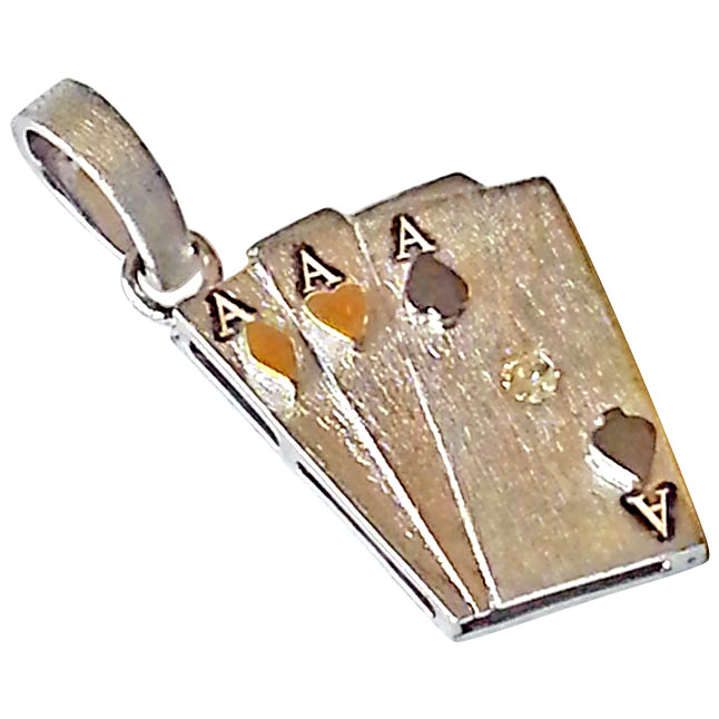 Ace Playing Cards - Diamond & Silver Pendant - Sport Collection