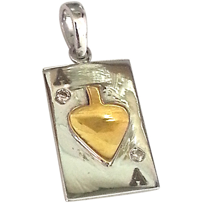 Winning Wow -Real Diamond & Silver Ace Card Pendants -Sport Collection