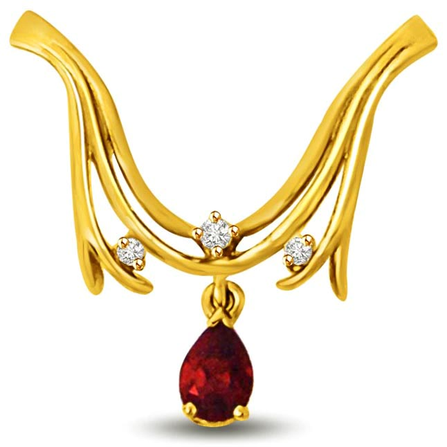 Center of Attraction Ruby & Diamond Gold Pendants for Her