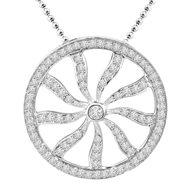 Chakra Of Life : 0.88ct Diamond 14kt White Gold Pendants -Designer Pendants