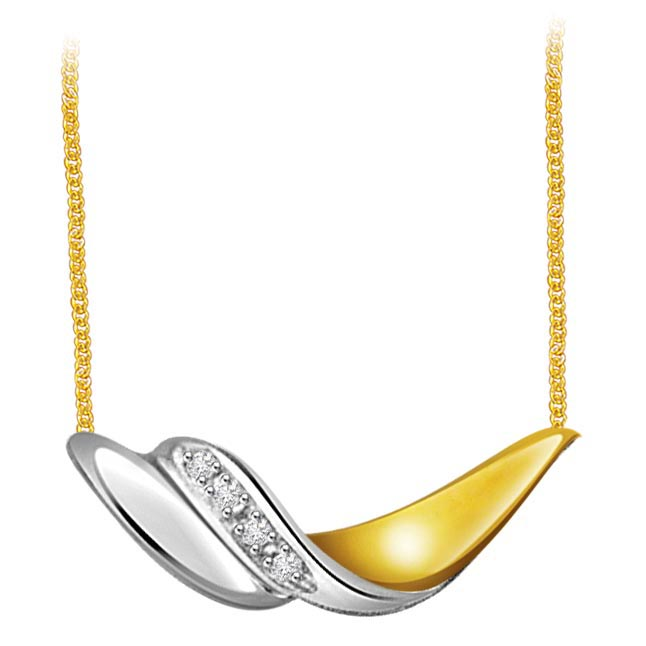 Charismatic Charm 0.12 ct Two Tone Diamond Necklace Pendants with chain