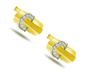 Charming Couple -0.32ct Diamond Gold Cufflinks -Cufflinks