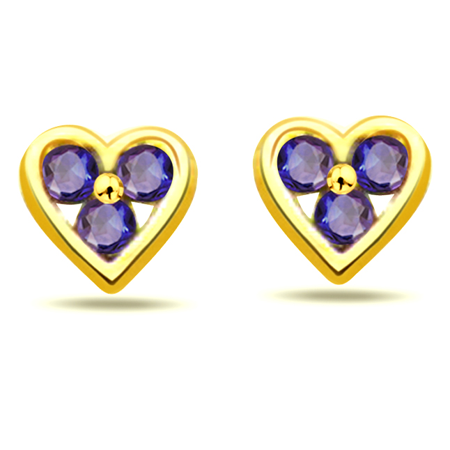 Charming Heart 0.18ct Heart Shape Sapphire Earrings -Dia & Gemstone