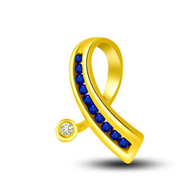 Charming:Single Diamond & Sapphire Row Set In Yellow Gold