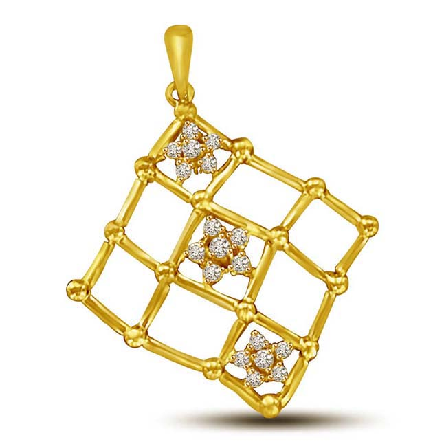 Chequered Gold Pendants with Small Flowers. -Flower Shape Pendants