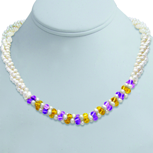 Chocolate Mousse - 3 Line Twisted Real Pearl, Amethyst & Citrin Beads Necklace for Women (SN300)