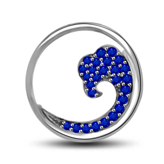 Circle Of Love:Blue Round Sapphire Set In Classical Manner 14kt Gold Pendants -Gemstone Pendants