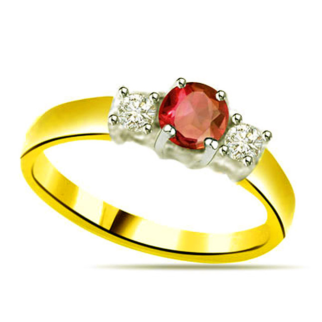 Classic Diamond & Ruby Gold rings SDR1142