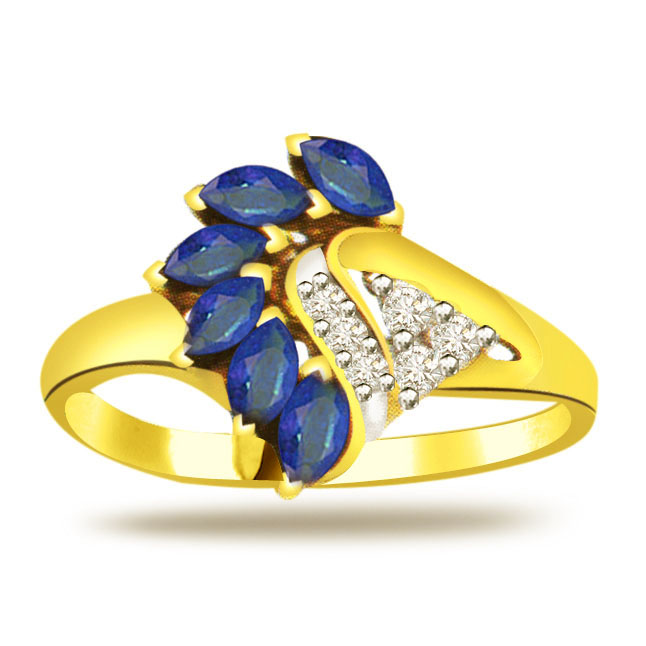 Classic Diamond & Sapphire Gold rings SDR1217
