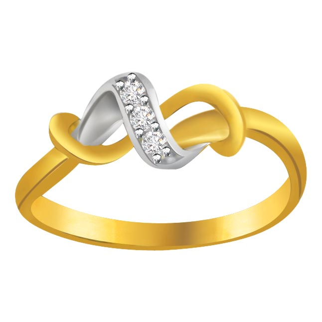 Classic Diamond Gold rings SDR593 -White Yellow Gold rings