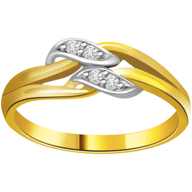 Classic Diamond Gold rings SDR620 -White Yellow Gold rings