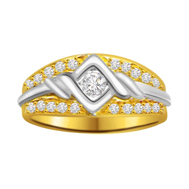 Classic Diamond Gold rings SDR866 -White Yellow Gold rings
