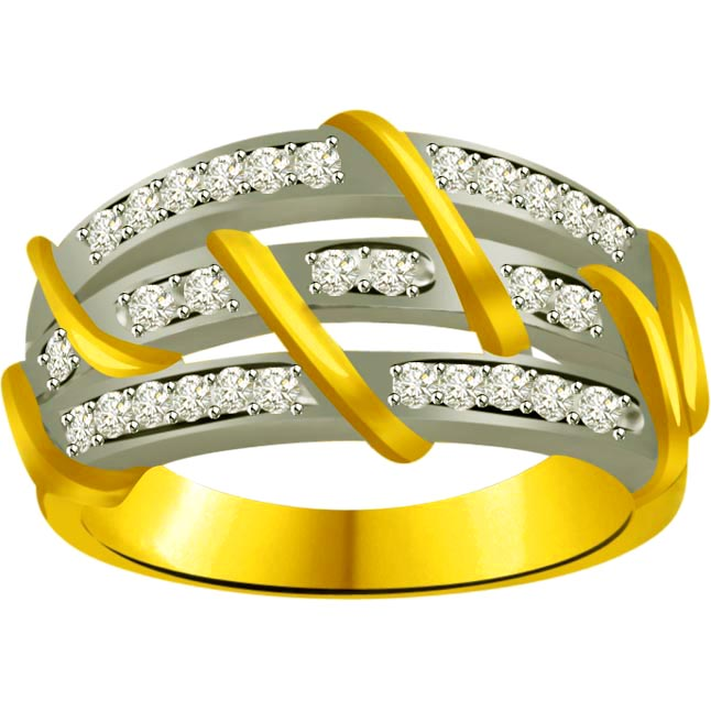 Classic Diamond Gold rings SDR877 -2 Tone Half Eternity