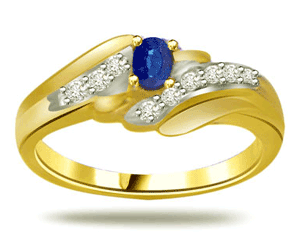 Classic Diamond & Sapphire Gold rings SDR1296