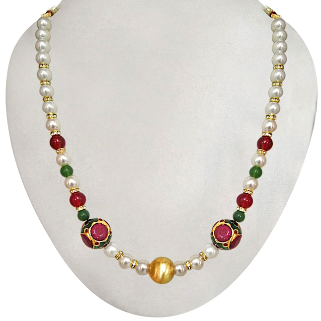 Classy Red Kundan Beads, Shell Pearl & Coloured Stone Necklace. -Necklace