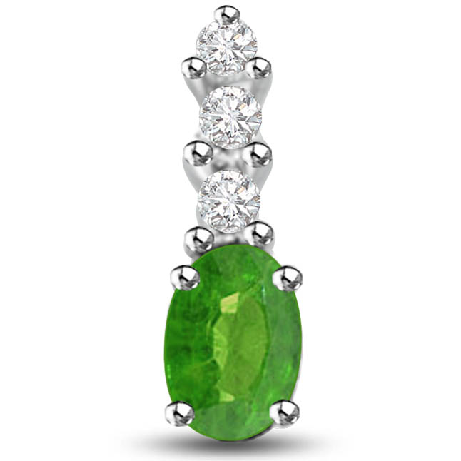 Cocktail of Stone Dazzling Emerald Diamond Pendants In White Gold