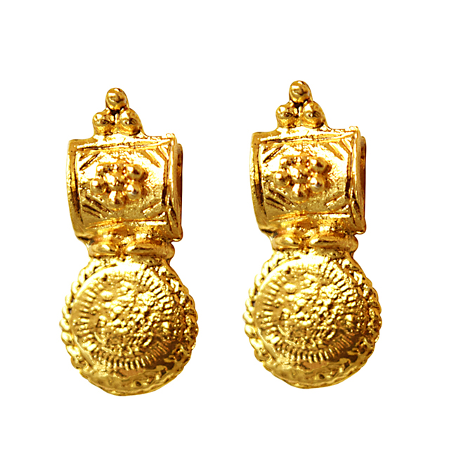 Coin Shaped Gold Plated Necklace & Earrings Fashion Jewellery Set