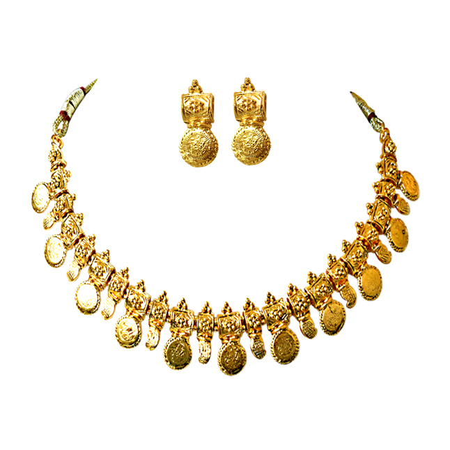 Coin Shaped Gold Plated Necklace & Earring Fashion Jewellery Set