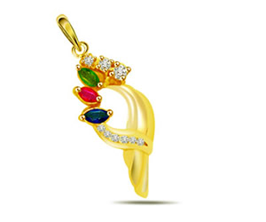Colourful Creation -0.08 cts Diamond & Precious Stone Pendants -Dia+Gemstone