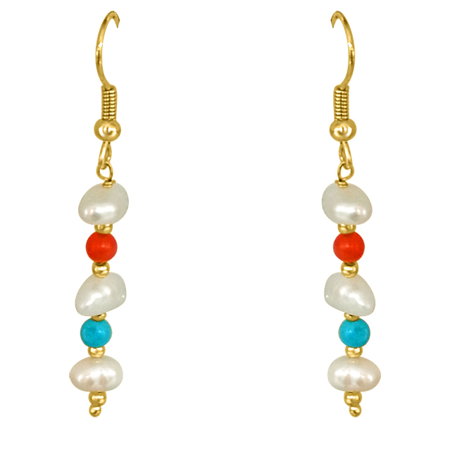 Real Coral, Turquoise & Freshwater Pearl Earring for Women (SE205)