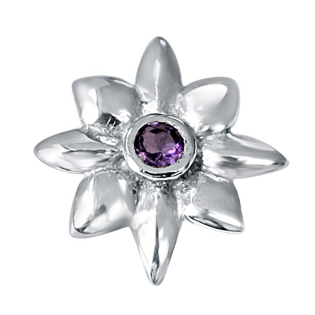 Crazy Daisies Floral Purple Amethyst & 925 Sterling Silver Pendant with 18 IN Chain