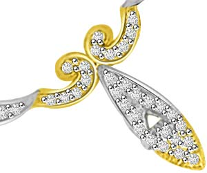 Crecent Twist Two Tone VS Diamond Necklace Pendants