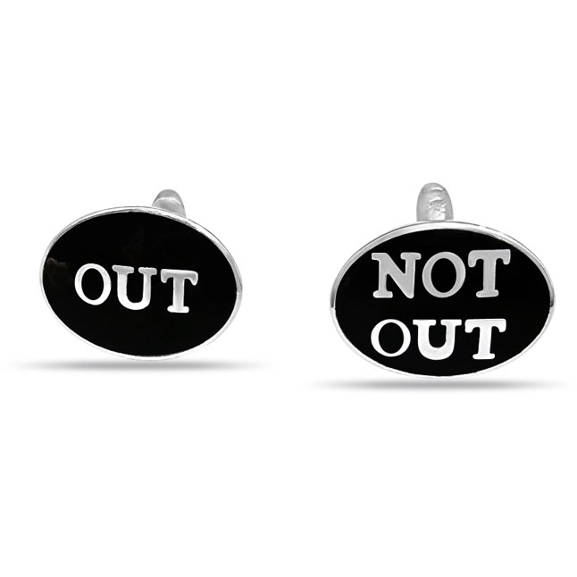 Out : Not Out Black Enamelled Cricket Cufflinks in Sterling Silver for Men (SDS143)