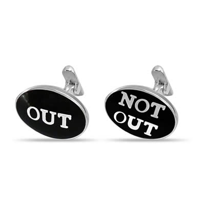 Cricket Cufflinks in silver -Out -Not Out -Silver Sports Cufflinks