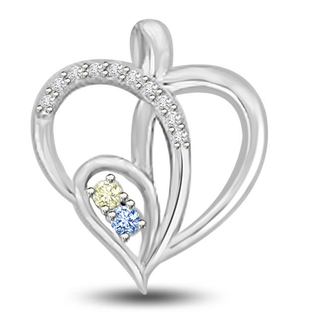 Cris Cross Heart Diamond & Blue ,Golden Topaz White Gold Heart Pendants