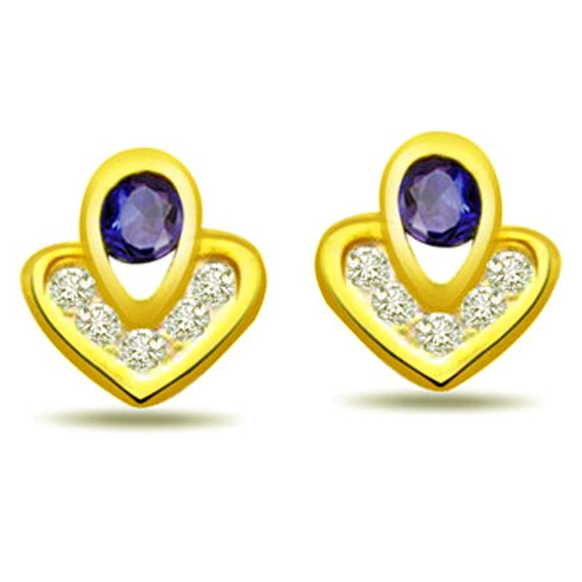 Cross My Heart 0.12 ct Diamond & Sapphire Earrings -Dia & Gemstone