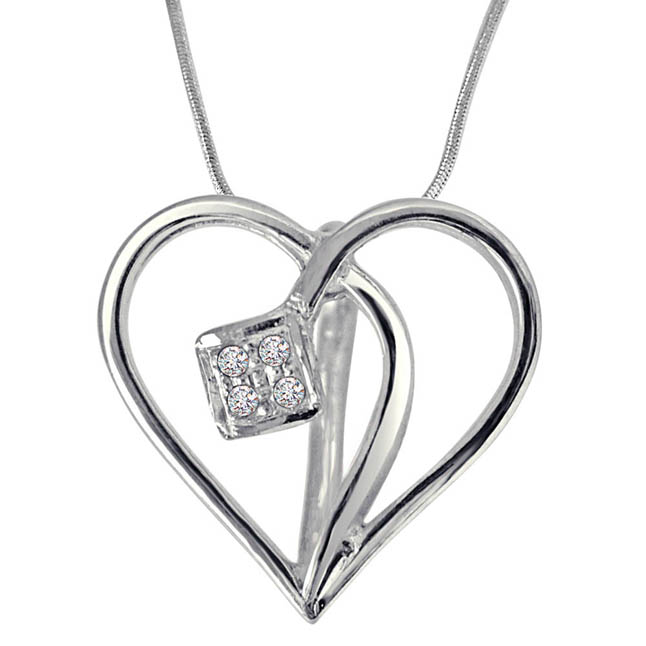 Cross Your Heart - Real Diamond & Sterling Silver Pendant with 18 IN Chain