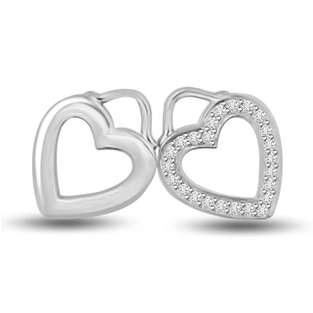 Cuddling Together 14k White Gold Diamond Heart Pendants