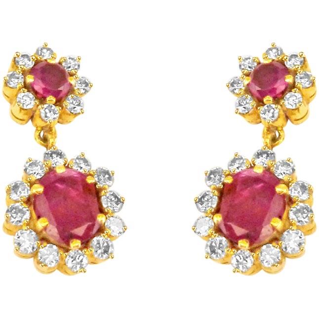 Cultured Elegance Diamond & Ruby Necklace Set -Diamond Gemstone