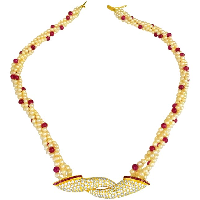 Cultured Elegance Diamond & Ruby Necklace Set -Diamond Gemstone