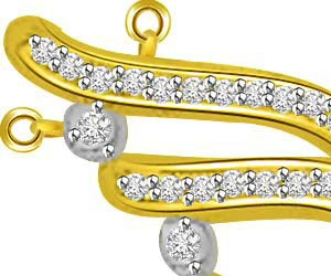 Curvaceous Diamond Gold Drop Designor Pendants -Designer Pendants