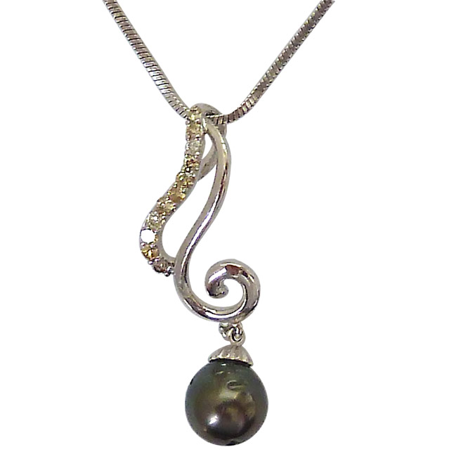 Curvacious - Real Diamond & Tahitian Black Pearl Low Cost Pendant with 18 IN Chain