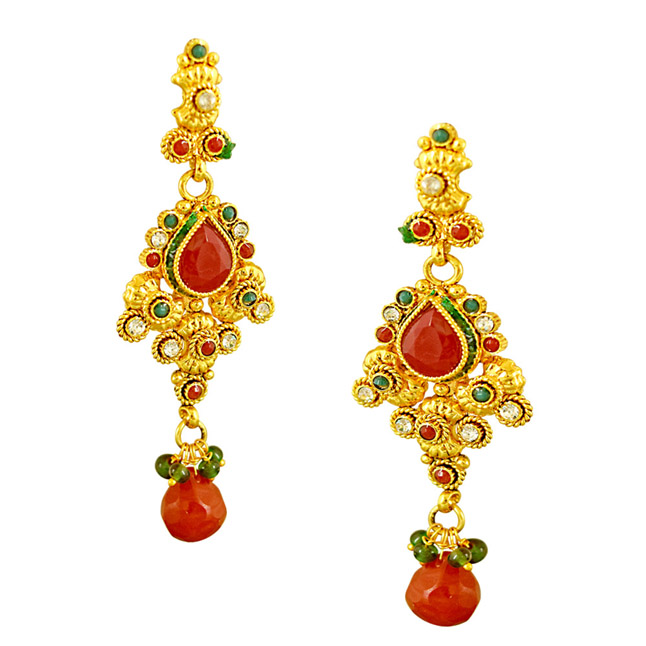 Curved Red, Green & White Stone & Gold Plated Necklace Earrings & Tikka Ethnic Fashion Jewellery Set