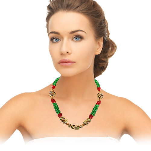 Cylinder & Round Shaped Kundan Beads, Red & Green Coloured Stone & Gold Plated Beads Multi -St Necklace -Colour Stones
