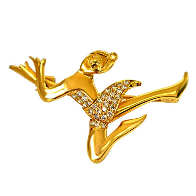 Dance like a Man : Solid Gold White Diamond Brooch for Engagement Wedding -Diamond Brooches