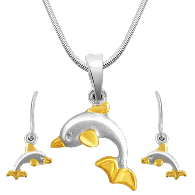 Dancing Dolphin Sterling Silver Pendants Earrings -Gemstone Set