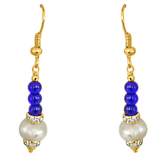 Dangling Real Pearl & Blue Stone Earrings