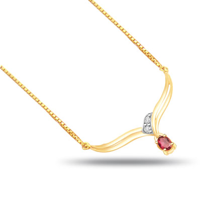 Dazzling Red Desire Diamond & Ruby Gold Necklace Pendants -2 Tone Necklace Pendants + Chain