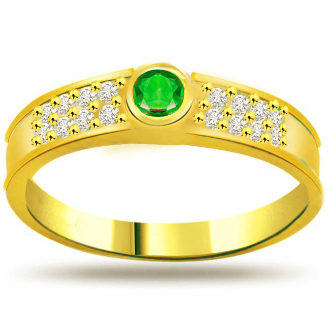 Dazzling Stars on Gold 0.16ct Diamond & Emerald rings SDR1112 -Diamond & Emerald
