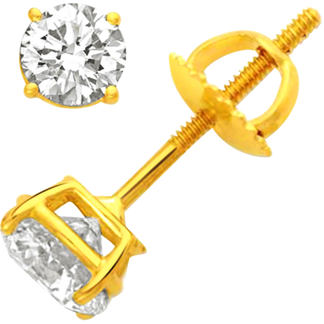 Decorous Diamond Earrings. -Solitaire Earrings